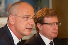 Fonterra chief executive Theo Spierings (left) and chairman John Wilson. Photo / Richard Robinson