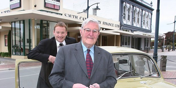 South Canterbury Finance CEO Lachie McLeod and Chairman Allan Hubbard in 2005.