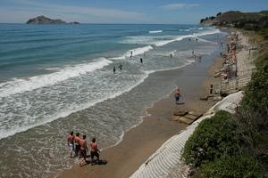 An unusually high tide at Waimarama Beach. Photo / Hawkes Bay Today