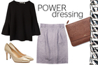 Country Road top $89.90. Juliette Hogan skirt $249. Guglielmo Rotta heel, $490, from Scarpa. Benah iPad clutch, $268, from Simon James. Ph 09 376 6955. Chain bracelet, $79, from walkerandhall.co.nz