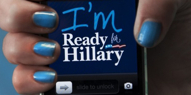 A dressed up iPhone is seen in this posed photo at the 'Ready For Hillary' Super PAC offices. Photo / AFP