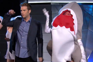 Anthony Jeselnik performs his shark attack skit.