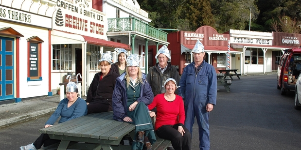 Heritage park Shantytown staff Chantelle Cronn, left, Monica Pfeifer, Hazel Large, Amanda Pike, Ian Tibbles, Andrea Forrest and Nathan Lee are prepared for any extraterrestrial visitors.