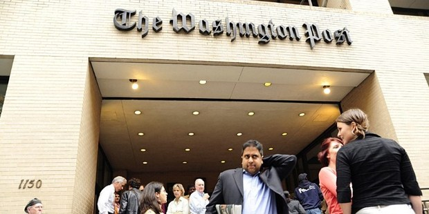 Loading Outside the offices of The Washington Post in Washington, DC. The paper has been sold for NZD$320m. Photo / AFP