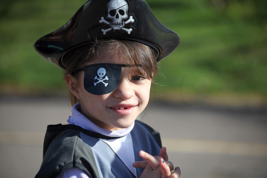 Courtney Brown, 6, is a pirate for the day.