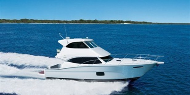 The Maritimo M45 is just the right size for a couple or a young family, with all the bells and whistles to make cruising a breeze. The pilothouse, the galleyand the fridge/BBQ unit