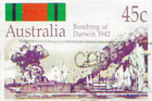 A postage stamp image depicting the 1942 bombing of Darwin. Photo / Thinkstock