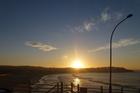 Sunrise from The Beach House balcony overlooking Bondi Beach. Photo / Justine Tyerman