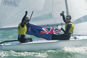 Paper may be the traditional gift for a first anniversary but Kiwi sailors Jo Aleh and Olivia Powrie instead celebrated with more gold. Photo / File.