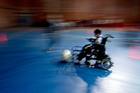 Mauro Villar controls the ball during a Powerchair Football training session in Buenos Aires, Argentina. Photo / AP