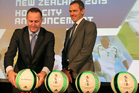 Dave Beeche, CEO FIFA U20 World Cup 2015 (R) and Prime Minister John Key (L) present host city footballs during the Football FIFA Under 20 World Cup New Zealand 2015. Photo / Getty Images.
