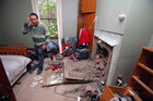 Doug Avery standing in his quake-damaged bedroom in Grassmere, near Seddon, yesterday. Photo / Tim Cuff