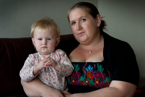Hannah Bailey says she had to fight for a refund after the cot's sides fell on 1-year-old Molly. Photo / Brett Phibbs