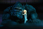 Ester Hannaford who plays Ann Darrow performs with King Kong on stage during a 'King Kong'.
