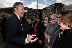 Uesifili Unasa's supporters at his campaign launch were of a diverse ethnic mix. Photo / Brett Phibbs