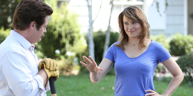 Nick Offerman as Ron, Lucy Lawless as Diane in 'Parks and Recreation'.