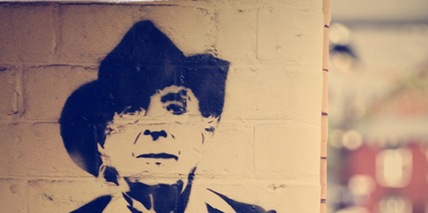 Roy Ward will age 40 years to play Quentin Crisp (left). Stencil art by Stewy, Photo / Mark Wallis