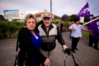 Veteran Owen Hicks joins the picket line with Sue Nixon, who was made redundant by the new management of Ranfurly House. Photo / Dean Purcell
