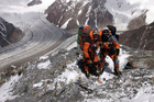 Denali Schmidt (right) and Marty Schmidt before the final part of their attempted climb of K2 Mountain in Pakistan. Photo / Chris Warner