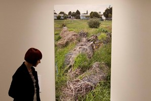 Waikato Museum communications manager Louise Belay with Dieneke Jansen's winning entry. Photo / Alan Gibson