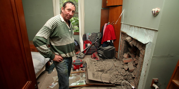 Doug Avery in his damaged bedroom, at Grassmere, near Seddon. Photo / Tim Cuff