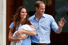 Prince William and Kate, Duchess of Cambridge with Prince George. Photo / AP