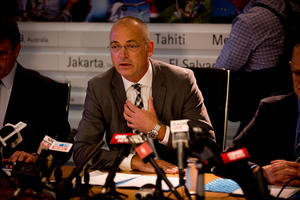 Fonterra chief executive Theo Spierings during a recent press conference. Photo / Dean Purcell