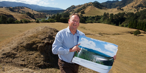 Andrew Newman at the site of the proposed Ruataniwha Dam near Tikokino.