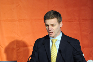 Bill English speaking at the New Zealand Council for Infrastructure Development Building Nations Symposium, Te Papa in 2009. Photo / File
