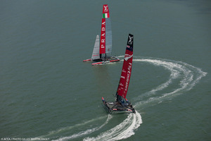 The Kiwi boat has proved to be consistently faster than Luna Rossa. Photo / Gilles Martin-Raget