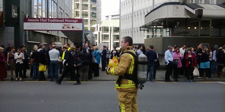 Office workers around Wellington central city have spilled out onto the streets after the strong shake.