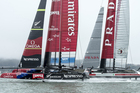 Team NZ and Luna Rossa in action during the Louis Vuitton Cup series. Photo / ETNZ