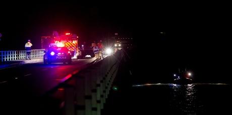 The scene of a crash on Maungatapu bridge which crosses the Tauranga Harbour. Photo / Alan Gibson