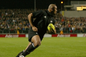Jonah Lomu in full cry scoring for the All Blacks in his heyday. Photo / Paul Estcourt