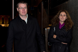 James McAllister leaving the Auckland District Court with his partner, Dr Agata Errera. Photo / Brett Phibbs