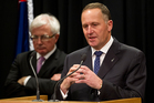 Prime Minister John Key, with Trade Minister Tim Grosser, during their post-Cabinet press conference over the Fonterra debacle. Photo / Mark Mitchell