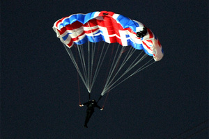 Mark Sutton parachuting into the Olympic opening ceremony. Photo / AP