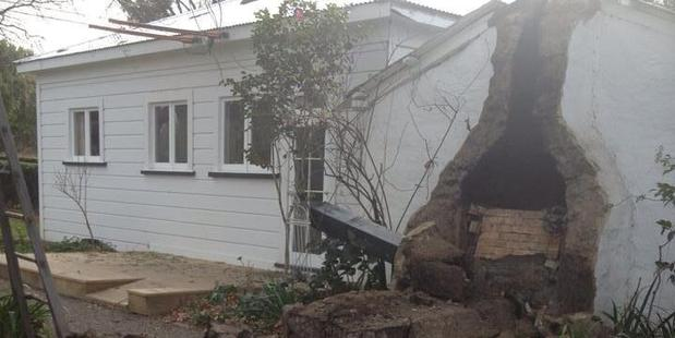 This house in Marlborough was seriously damaged by today's quakes. Photo / Twitter