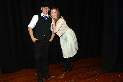 Wairarapa College production Bugsy Malone costume try on. Left Emilio McFadzean, 18, playing Bugsy Malone and Eden Shearer, 17, playing Blousey Brown.
