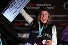 Jamie Anderson of the USA celebrates on the podium after winning. Photo / Getty Images