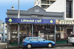 The mixed-use character building at 327 Karangahape Rd has a wide retail frontage.