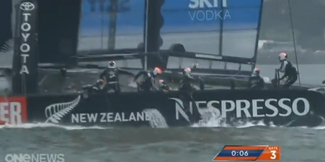 One of the team members was thrown of the boat just after the nosedive.