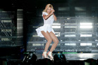 Beyonce performs at the V Festival in Chelmsford, Essex in Britain where she was greeted by boos from soaked fans. Photo / AP