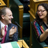 Louisa Wall is congratulated by Labour leader David Shearer after the Marriage Amendment Bill was passed in Parliament, April 2013. Photo / Mark Mitchell
