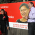 Meka Whaitiri, Labour candidate for Ikaroa Rawhiti by-election and David Shearer after putting up a billboard on Farndon Rd, Kohupatiki. Photo / APN