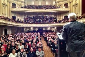A GCSB protest meeting was held at the Auckland Town Hall earlier in the week. Photo / Kim Dotcom / Twitter