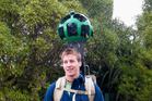 Matt Jenke carries the Google Trekker camera as it debuts in New Zealand. Photo / Project Janszoon
