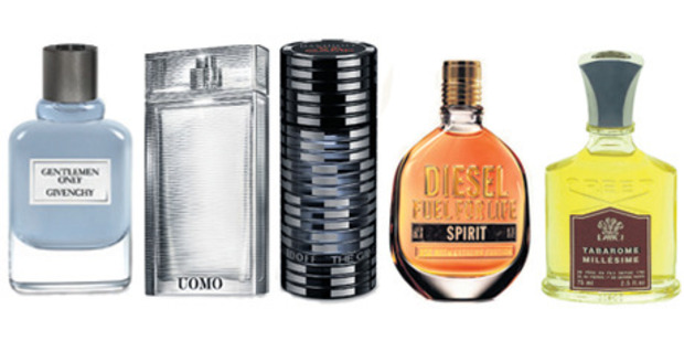 Left to right: Givenchy Gentlemen Only, Ermenegildo Zegna Uomo, Davidoff The Game, Diesel Fuel for Life Spirit, Tabarome by Creed.