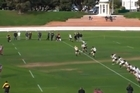 A rugby referee receives takes a hit to the head from the kick off in a club match in Wellington. Video / Youtube: NZAUTV8