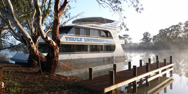A moored houseboat on the Murray. Photo / Megan Singleton